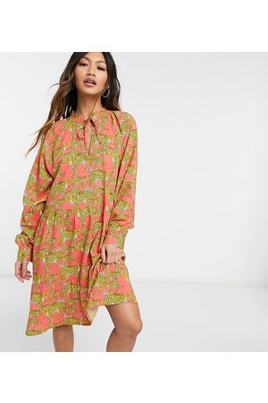 Native Youth Smock dress with high pleated collar in leopards print
