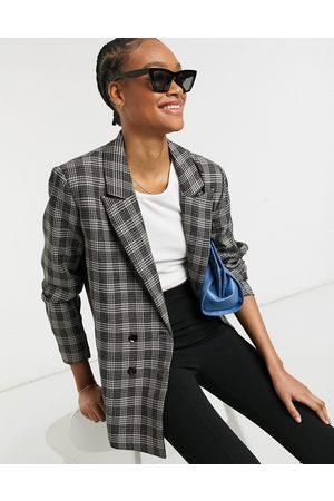 Urban Threads Mujer Abrigos de lana - Oversized double breasted blazer in grey check