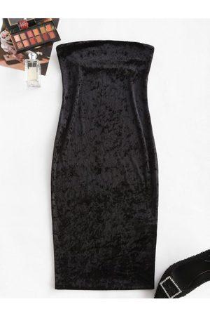 Zaful Strapless Velvet Midi Bodycon Dress
