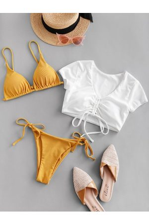 Zaful Cinched Tie Side Ribbed Three Piece Swimsuit