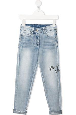 MONNALISA Niña Jeans - Vaqueros con estampado del logo