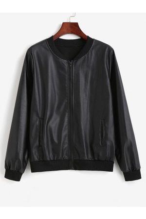 Zaful Zip Up Faux Leather Pockets Bomber Jacket