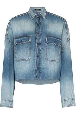 R13 Mujer De mezclilla - Camisa corta de mezclilla