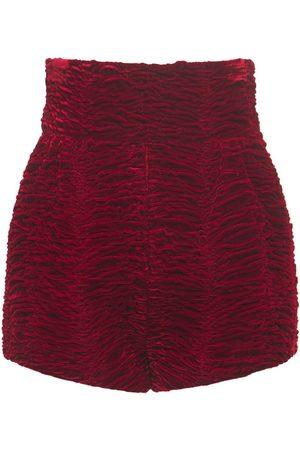 Saint Laurent High Waist Viscose & Cupro Velvet Shorts