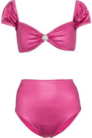 Alessandra Rich Mujer Bikinis - Embellished off-shoulder bikini top