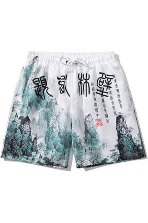 Zaful Ink Painting Print Oriental Casual Shorts