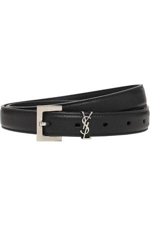 Saint Laurent Hombre Cinturones - Cinturón Fino De Piel Con Logo 2cm
