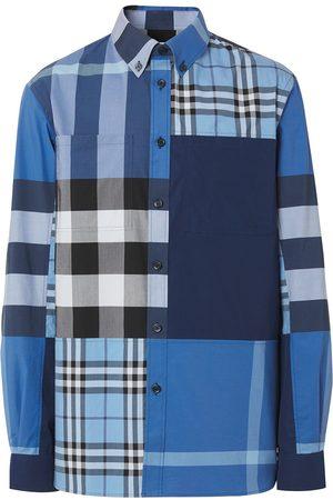 Burberry Camisa con paneles y estampado de cuadros