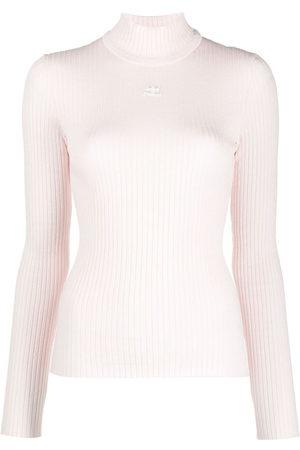 Courrèges Suéter tejido de canalé con logo estampado