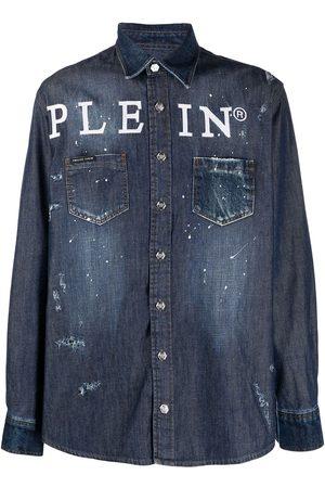 Philipp Plein Camisa de mezclilla con logo