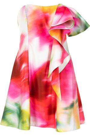 Marchesa Notte Vestido coctel con estampado abstracto