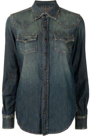 Saint Laurent Camisa de mezclilla con botones de presión