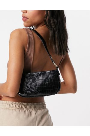 ASOS Croc effect 90s shoulder bag in black