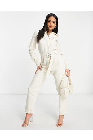 4th & Reckless Tie belt jumpsuit in cream