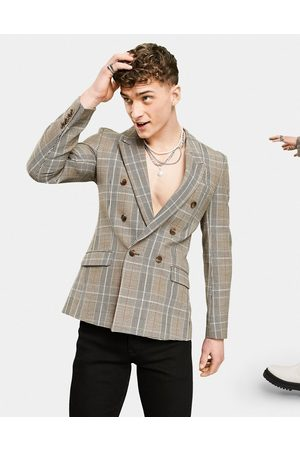 ASOS Skinny double breasted blazer with prince of wales check in grey