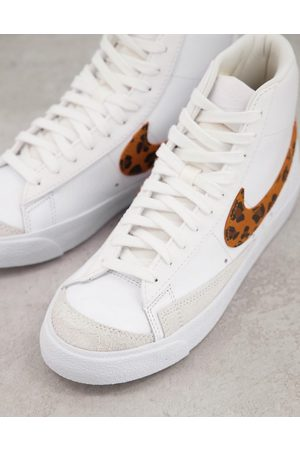 Nike Blazer Mid '77 trainers in white and leopard print