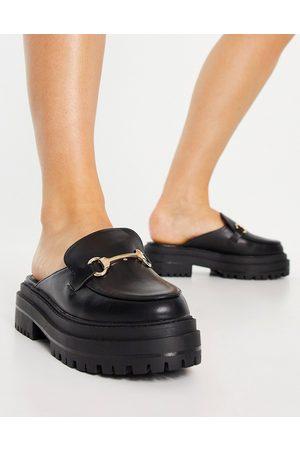 Raid Sadie chunky backless loafers in black