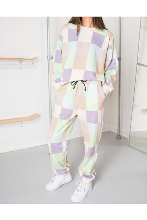 Daisy Street Relaxed joggers in patchwork pastel co