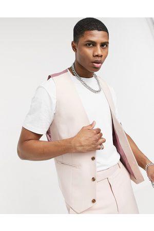ASOS Wedding skinny suit waistcoat in rose
