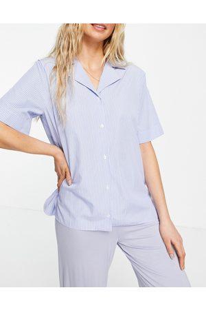 ASOS Woven stripe short sleeve pyjama shirt in blue