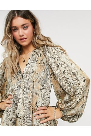 Object V neck blouse with volume sleeve in animal print