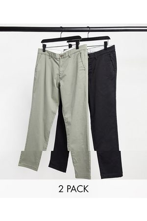 Jack & Jones Intelligence 2 pack slim tapered chino in dusty olive & black