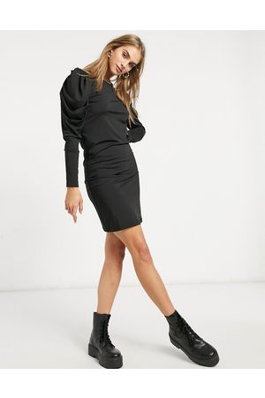 VILA Mini bodycon dress with ruched long sleeves in black