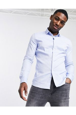 ASOS Royal oxford shirt with double cuff in blue