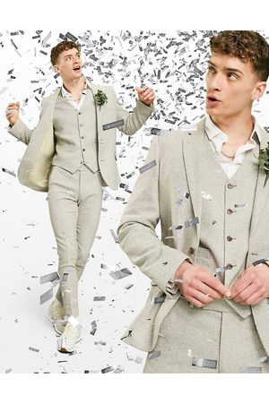 ASOS Wedding super skinny wool mix suit jacket in stone puppytooth