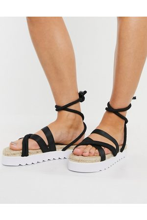 Truffle Collection Chunky tie leg espadrille sandals in black
