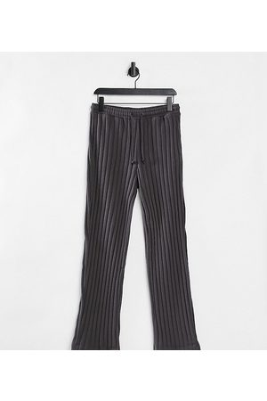 COLLUSION Unisex wide leg joggers in jersey knit in charcoal co