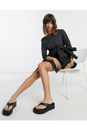 Closet Off shoulder cropped sleeve wrap mini dress in black