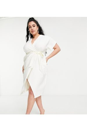 Closet Mujer Midi - Kimono wrap midi dress in ivory