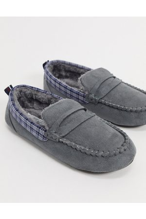 Original Penguin Hombre Collares - Moccasin slippers with check collar in grey