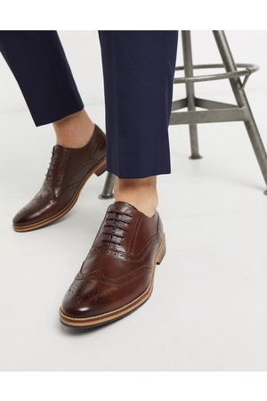 ASOS Brogue shoes in brown leather with natural sole and colour details