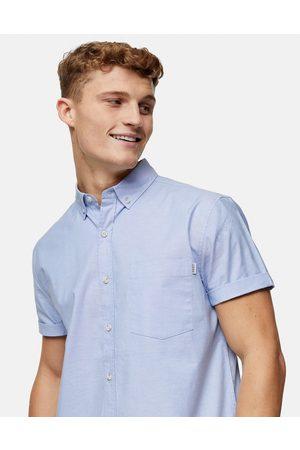 Topman Hombre Manga corta - Slim oxford shirt in light blue
