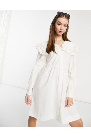 Y.A.S Mini dress with broderie peter pan collar in white