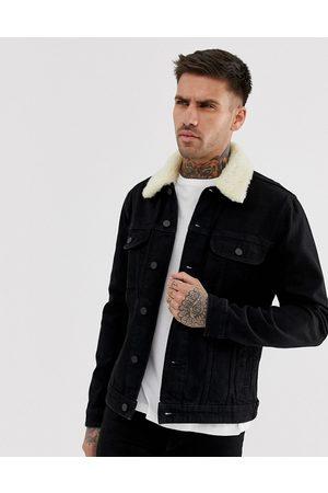 ASOS DESIGN Denim jacket with detachable borg collar in black