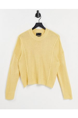 ASOS Boxy jumper with crew neck in yellow