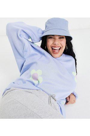Daisy Street Oversized jumper in pastel daisy knit