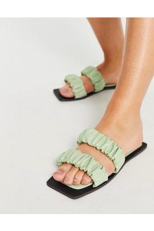 SIMMI Shoes Simmi London Parrish ruched flat sandals in sage
