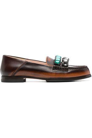 Nº21 Crystal-embellished low-heel loafers
