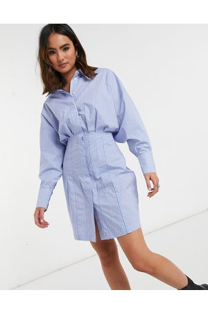 Object Mini shirt dress with ruched waist in stripe print