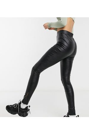 Parisian PU leggings with side splits in black