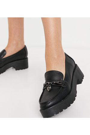 London Rebel Wide fit chunky loafers with chain padlock detail in black