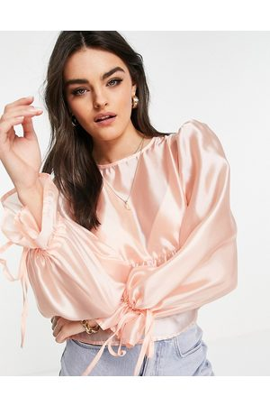 Fashion Union Mujer Blusas - Smock drop with tie sleeves in pink organza