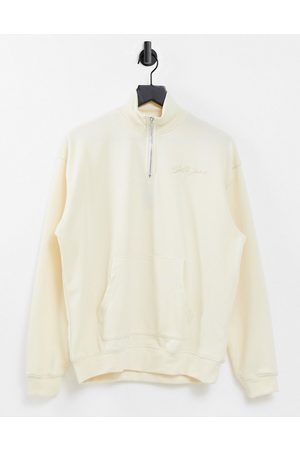 Sixth June Unisex relaxed high neck zip up sweatshirt in stone co