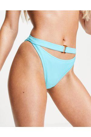 Candypants Ring High Waist Bikini Brief in Blue