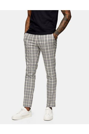 Topman Check skinny trousers in pink and yellow