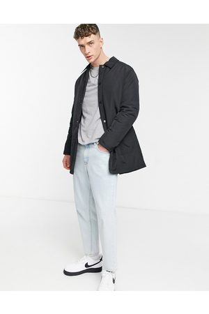 ASOS Padded trench coat with quilted lining in black